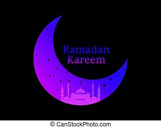 Ramadan Kareem Mosque And A Crescent Stars Moon Muslim Holiday Lights