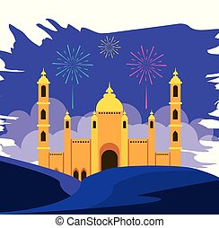 ramadan kareem mosque building with fireworks