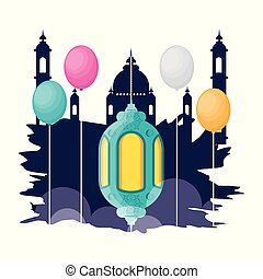 ramadan kareem mosque building with lantern hanging