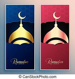 ramadan kareem mosque design banner set