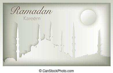 Ramadan Kareem mosque silhouette greeting card design