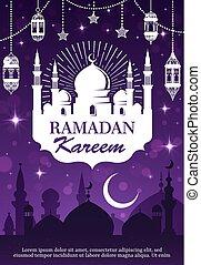 Ramadan Kareem muslim mosque, lantern and moon