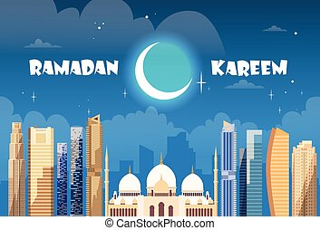 Ramadan Kareem Muslim Religion Holy Month Flat Vector...