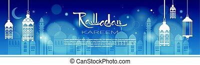 ramadan, kareem, musulmán, religión, santo, mes