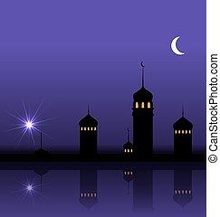 ramadan, kareem, nacht, hintergrund, mit, silhouette, moschee, und, minarette