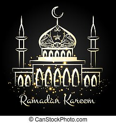 Ramadan kareem night mosque with lights