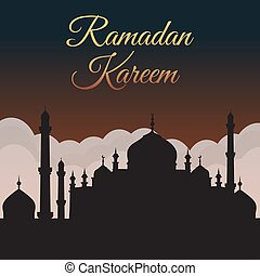 Ramadan Kareem. Night sky with mosque silhouette and clouds. Arabic background