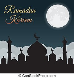 Ramadan Kareem. Night sky with mosque silhouette and moon, clouds. Arabic background