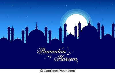 Ramadan Kareem on blue background