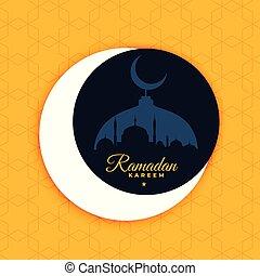 ramadan kareem poster design in flat color style