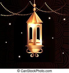 ramadan kareem poster with lantern hanging