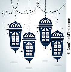 ramadan kareem poster with lanterns hanging