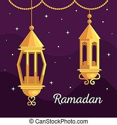 ramadan kareem poster with lanterns hanging