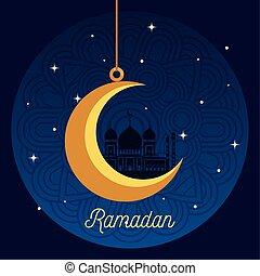 ramadan kareem poster with moon hanging