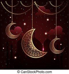 ramadan kareem poster with moons hanging