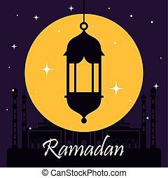 ramadan kareem poster with silhouette of lantern hanging