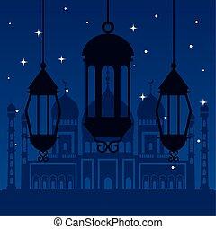 ramadan kareem poster with silhouette of lanterns hanging
