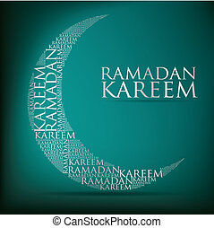 """""""Ramadan Kareem"""" (Generous Ramadan) moon card in vector format."""