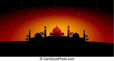 Ramadan Kareem. Ramadan Mubarak. Greeting card. Arabian...