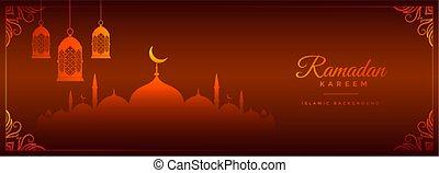 ramadan kareem red banner with mosque and lantern design