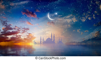 Ramadan Kareem religious background with mosque silhouettes reflected in serene sea