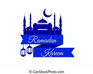 Ramadan Kareem. Ribbon with a mosque and a crescent. Lantern and moon. Muslim holiday lights. Banner on white background. Vector illustration