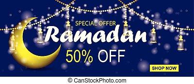 Ramadan kareem sale banner horizontal with crescent moon and lanterns