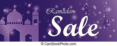 Ramadan kareem sale banner horizontal with mosque and lanterns