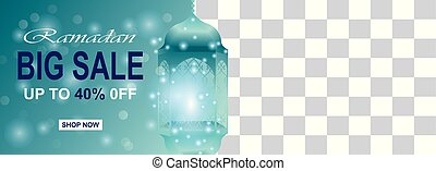 Ramadan kareem sale banner horizontal with your space and lantern in the light