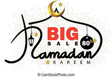 Ramadan Kareem sale lettering with gold crescent moon and stars