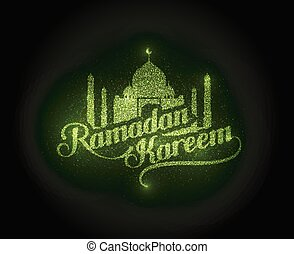 Ramadan Kareem shiny label - vector holiday illustration of...
