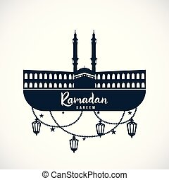 Ramadan Kareem. Sign of the mosque with hanging lamps.