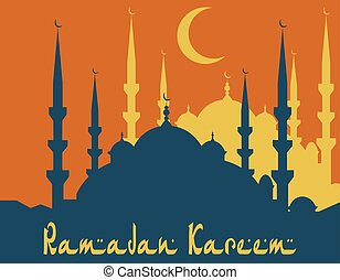 Ramadan Kareem. Stylized drawing of a silhouette of a blue mosque. illustration