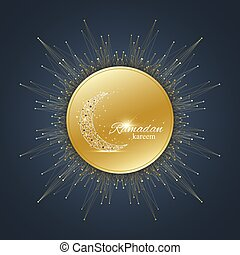 Ramadan Kareem text greetings background. Golden moon made...