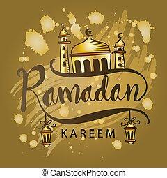 Ramadan Kareem text with mosque.