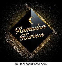 Ramadan Kareem vector background. Black square with sparkling golden glitter on dark background.