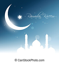 ramadan kareem vector - beautiful glowing moon background....