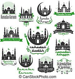 Ramadan Kareem vector greeting icons set