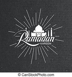 Ramadan Kareem. Vector typographic illustration of handwritten Ramadan Kareem label and mosque building. Lettering composition of muslim holy month Ramadan