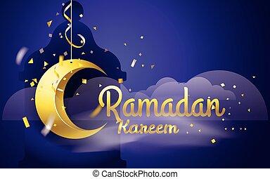 ramadan, kareem., vektor, abbildung