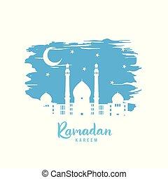 Ramadan Kareem. White Mosque on background of the starry sky.