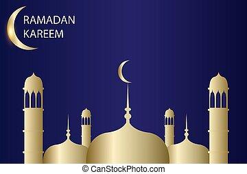 ramadan kareem with blue background gold