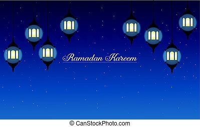 Ramadan Kareem with lantern banner collection