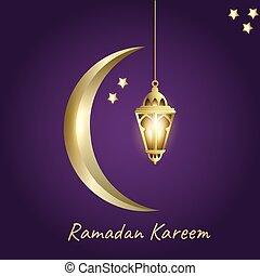 ramadan kareem with light moon and lantern
