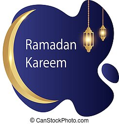 Ramadan kareem with liquid blue background