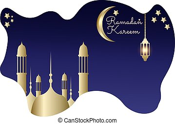 Ramadan kareem with liquid blue background mosque gold moon