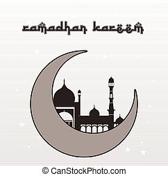 Ramadan Kareem with moon and Mosque