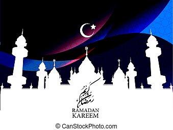 ramadan kareem with mosque and crescent