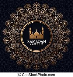 ramadan kareem with mosque and islamic art