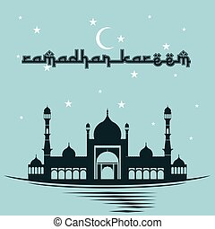 Ramadan Kareem with Mosque and sky background